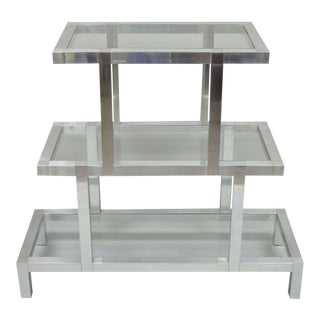 Mid Century Modern 3 Tier Aluminum Glass Milo Baughman Etagere For Sale