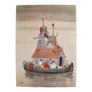 1974 Original British Illustration Poster, William Heath Robinson, Spring Cleaning in Noah's Ark For Sale