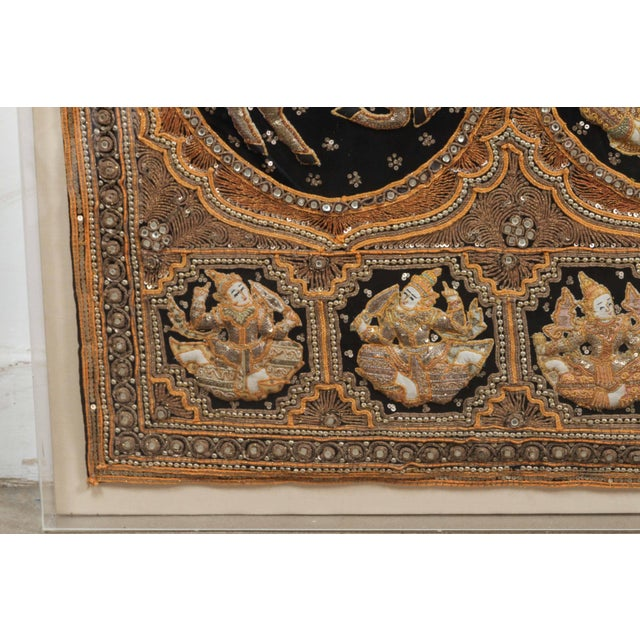 Burmese Kalaga Tapestry Framed in Acrylic Box For Sale - Image 4 of 7