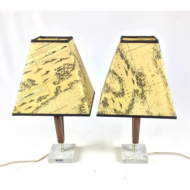 Italian 1960s Vintage Teak Marble Brass Italian Lamps - a Pair For Sale - Image 3 of 12