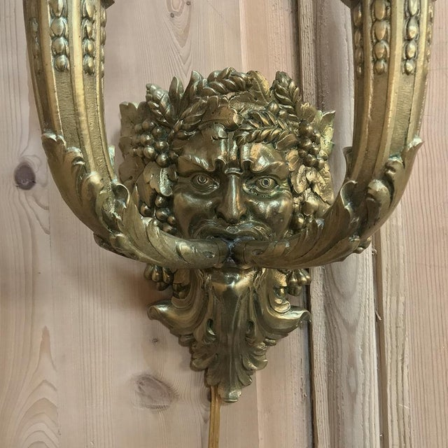 Empire Pair Antique Bronze Bacchus Electrified Wall Sconces For Sale - Image 3 of 13