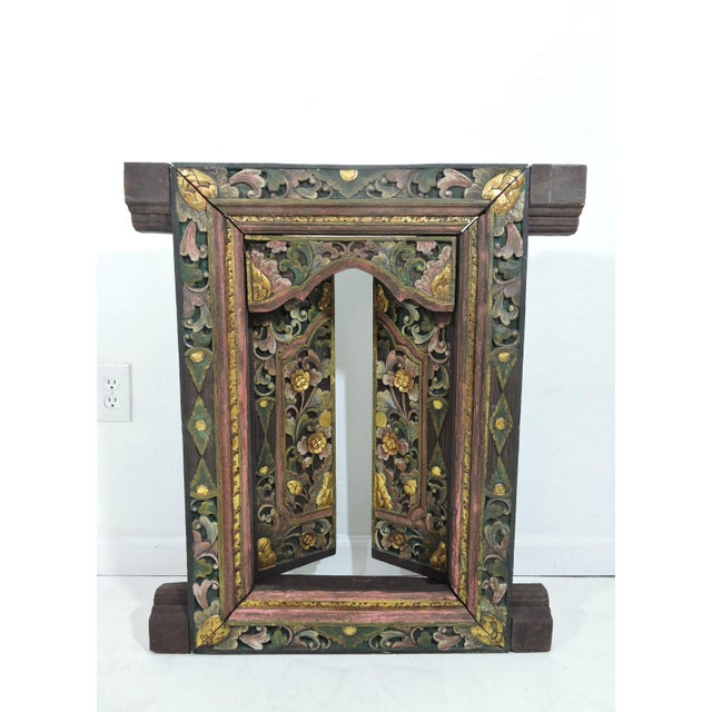 Gold Vintage Hand Carved Floral Indian Window Frame or Wall Panel For Sale - Image 7 of 10