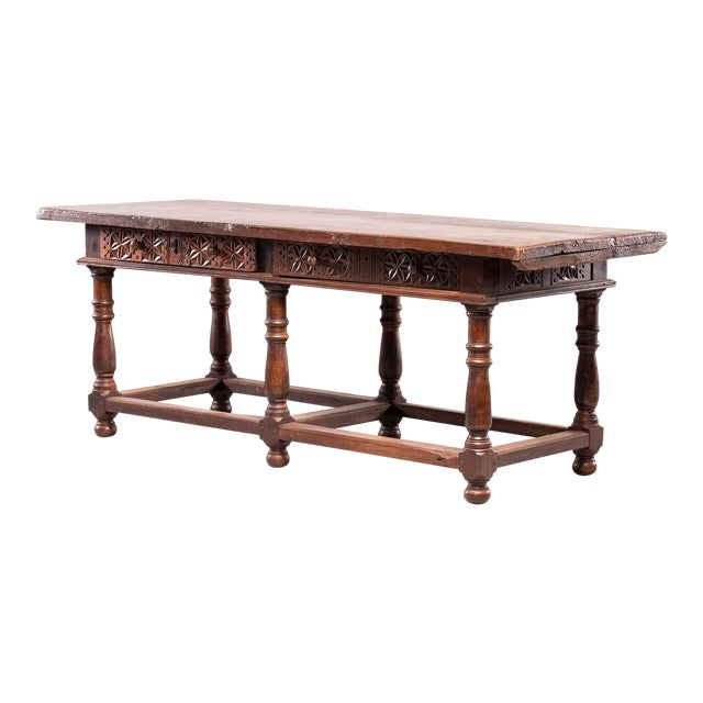Portuguese All Original 18th Century Carved Walnut Table For Sale