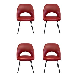 Mid-Century Style Red Faux Leather Dining Chairs - Set of 4