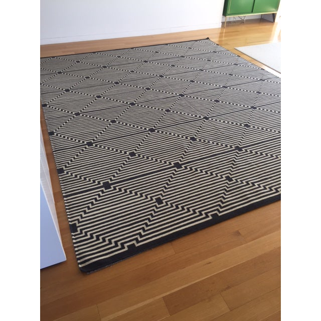 Contemporary Contemporary Dhurrie Aelfie Custom Made Wool Carpet - 10' X 12' For Sale - Image 3 of 6