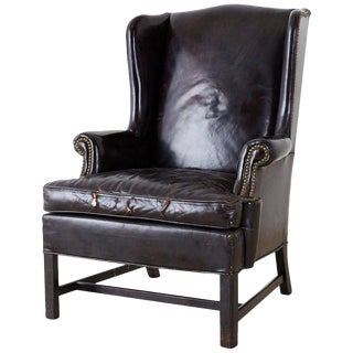 English Georgian Style Black Leather Wingback Armchair For Sale