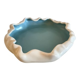 Mid-Century Modern Poppy Trail Turquoise and White Low Side Flower Bowl