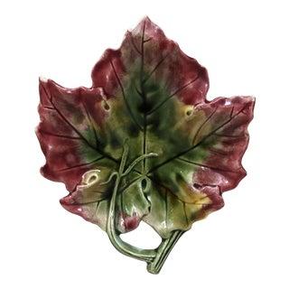 French Majolica Dish Leaf, Circa 1890 For Sale