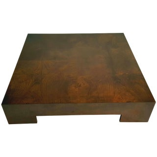 Milo Baughman Bookmatched Walnut Asian Style Low Cocktail Table For Sale