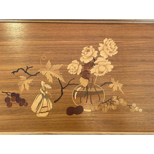 Mid 20th Century Mid 20th Century German Marquetry Tea Bar Cart For Sale - Image 5 of 10