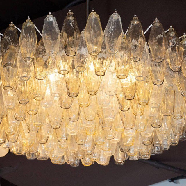 Modernist Polyhedral Chandelier in Topaz, Citrine & Clear Handblown Murano Glass For Sale - Image 4 of 9
