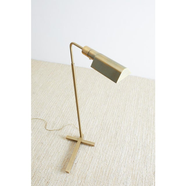 Brass Casella Brass Height Adjustable Pharmacy Floor Lamp For Sale - Image 8 of 12