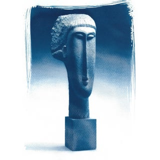 Modigliani Bust Head of a Woman Sculpture, Cyanotype Print on Watercolor Paper For Sale