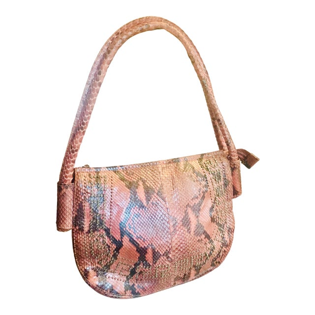 1990s Gianni Versace Iridescent Pink Python Shoulder Bag For Sale