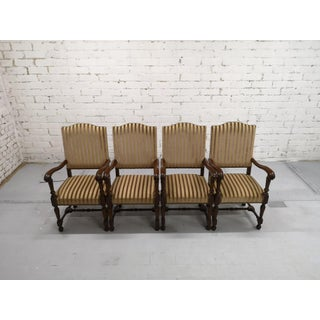 Set of 4 Massive Striped Hall Room Vintage Provincial Style Throne Chairs Original Tapestry Preview