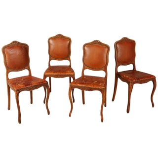 French Art Deco Distressed Leather Dining Side Chairs, Set of Four For Sale