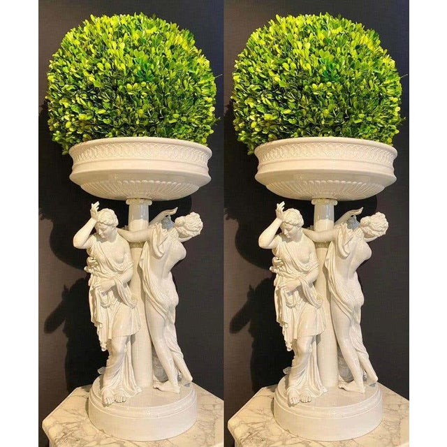 Pair of Antique Dresden Planters Jardinières, Each With Four Dancing Nymphs For Sale - Image 4 of 13
