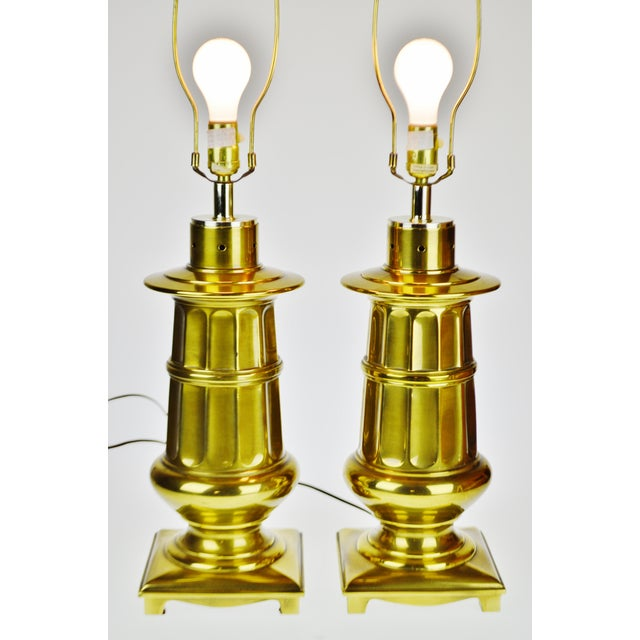Brass Vintage Neoclassical Brass Table Lamps - a Pair For Sale - Image 7 of 13