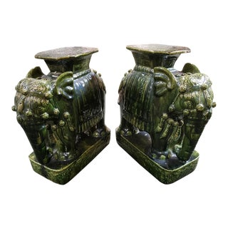 20th Century Chinese Emerald Green Glazed Clay Elephant Garden Stools-A Pair For Sale