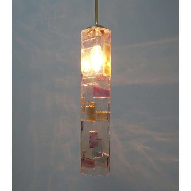 Pair of Colored Glass Pendant Lamps Style Poliarte, Italy, Circa 1955 For Sale - Image 6 of 8