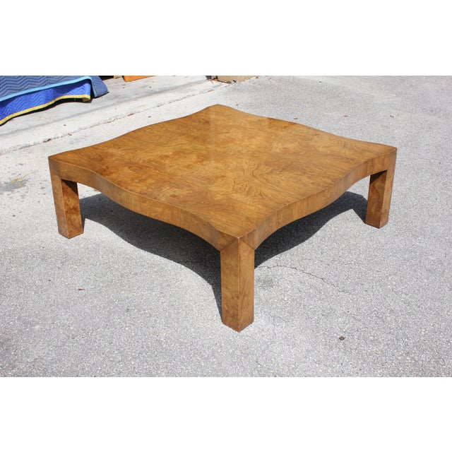 Monumental mid-century modern cherry wood coffee table. Made in the 1970s. Fantastic craftsmanship, the table are in very...