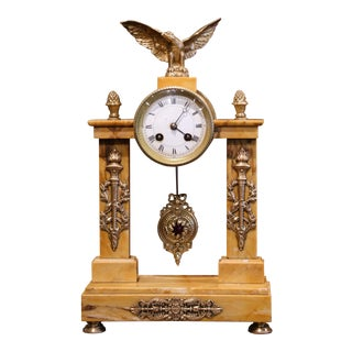 19th Century French Empire Marble and Bronze Mantel Clock From Bonnet & Pottier For Sale
