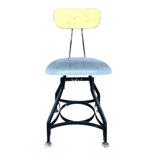 "1940s Vintage Toledo ""Uhl Art Steel"" Drafting Stool For Sale"
