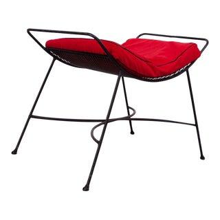 Mid-Century Modern Iron Footstool / Ottoman For Sale