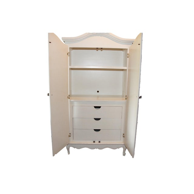 French Style Cane White Armoire by Art for Kids - Image 2 of 3