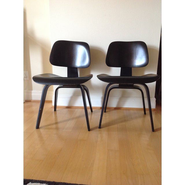 "The ""Molded Plywood"" collection of chairs was designed by Charles and Ray Eames and dates back to the 1940s. The label,..."