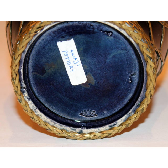 1910s Antique Awaji Pottery Aubergine Monochrome Meiping Form Bronze Weave Signed For Sale - Image 5 of 10