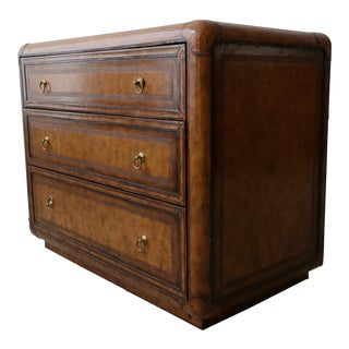 Leather and Brass Dresser Chest by Maitland Smith For Sale
