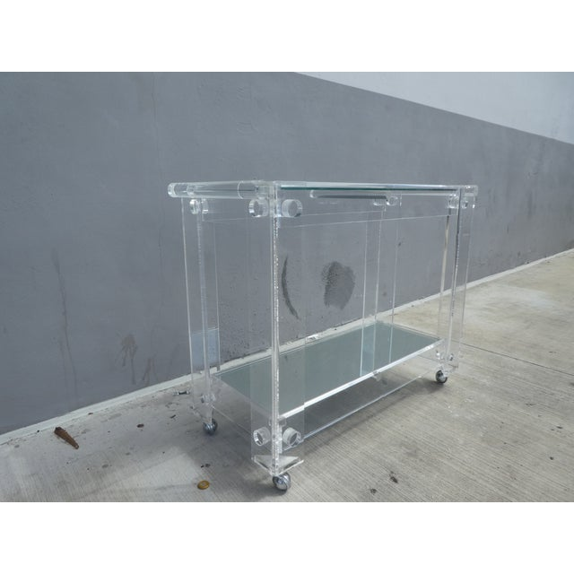 High Quality Lucite Bar Cart For Sale - Image 4 of 8