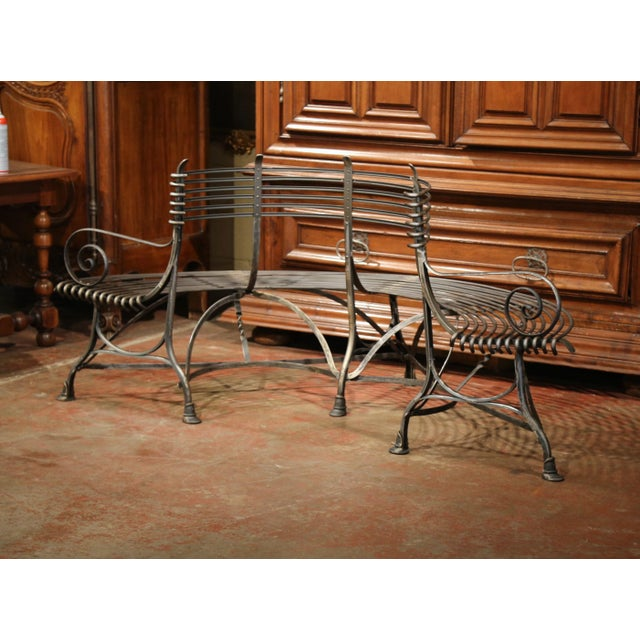 French Polished Iron Curved Around the Tree Shaped Garden Bench Signed Sauveur For Sale In Dallas - Image 6 of 10