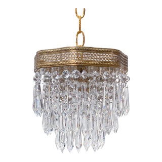 Antique Italian Brass Upside Down Layered Chandelier For Sale