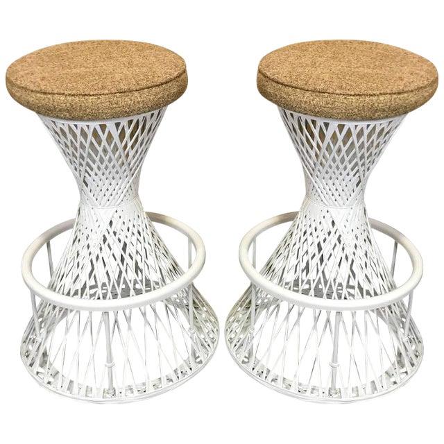 Woven and Spun Fiberglass Bar Stools by Robert Woodard - A Pair For Sale