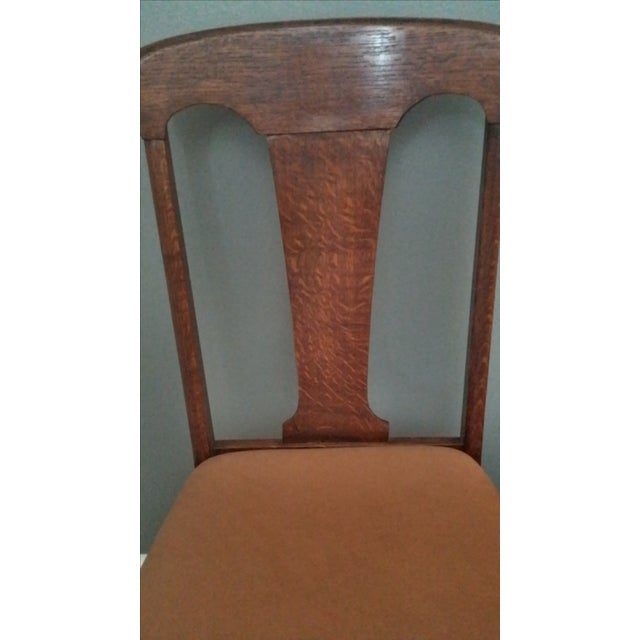Queen Anne Style Antique Oak Dining Chairs - S/5 - Image 4 of 5