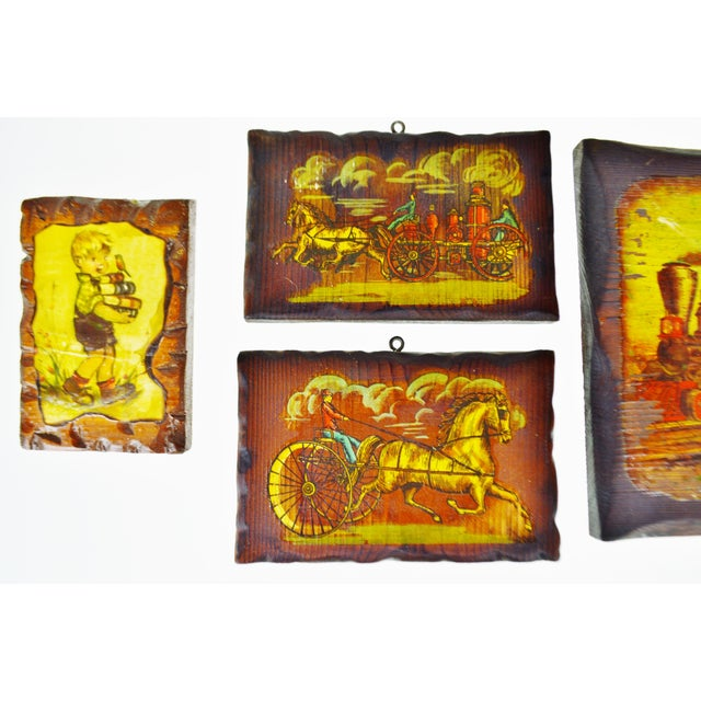 Vintage Carved Wood Decoupage Wall Art Plaques - Group of 8 For Sale - Image 5 of 11