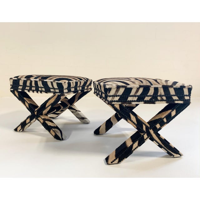 Billy Baldwin Style X Benches Restored in Zebra Hide - a Pair For Sale - Image 10 of 10