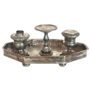 19th C. English Sheffield Ink Stand For Sale