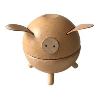 Vintage Danish Piggy Bank With Leather Ears For Sale