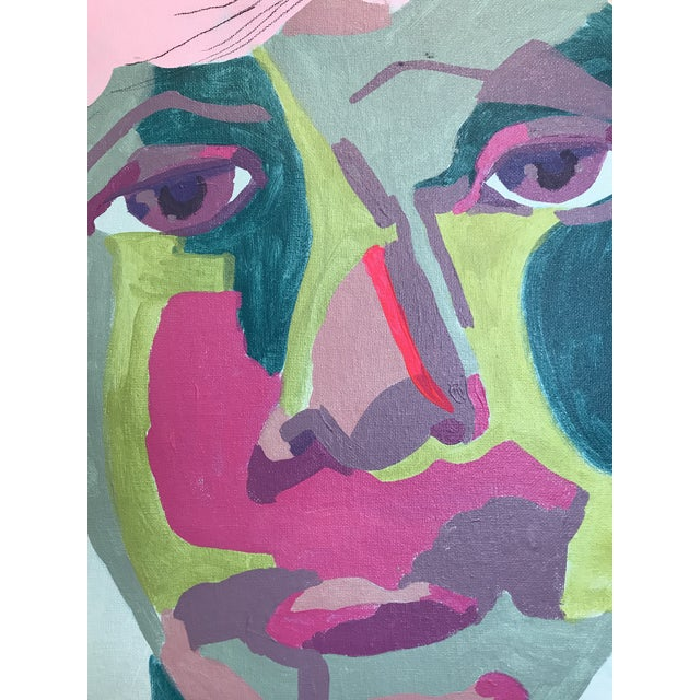 """Canvas Contemporary Abstract Portrait Painting """"It Goes by Fast"""" - Framed For Sale - Image 7 of 8"""