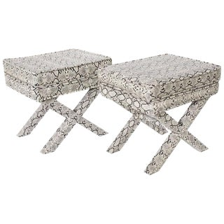 """Mid-Century Modern Pair of Billy Baldwin Style """"X"""" Benches Ottomans Footstools"""