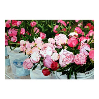 """Peonies at the Market"" By Josh Moulton Print For Sale"