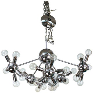 1970s Italian Mid Century Modern Chrome Sputnik Chandelier For Sale