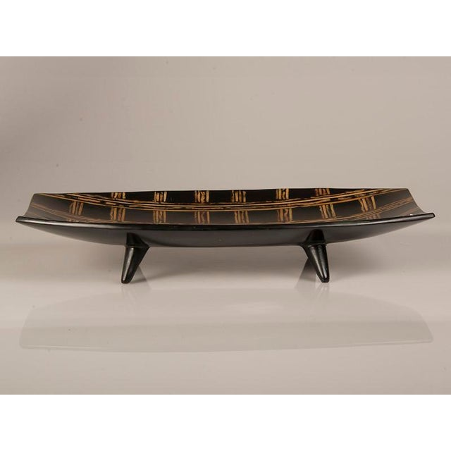 Modern Modern Large Black Lacquer Tray Inlaid with Bamboo, Malaysia For Sale - Image 3 of 7