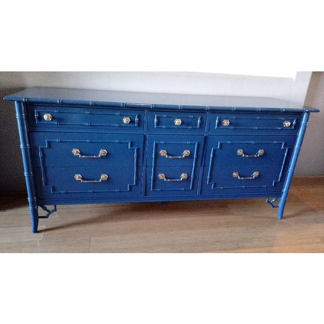 Thomasville Allegro Faux Bamboo High Gloss Blue 9-Drawer Dresser - Image 5 of 5