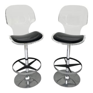Vintage Lucite and Chrome Swivel Bar Stools by Hill Manufacturing For Sale