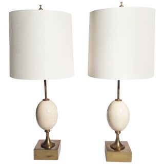 Ostrich Egg Table Lamps - A Pair