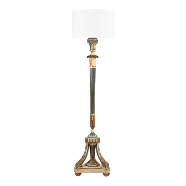1940s Louis XVI Style Painted Wooden Floor Lamp For Sale